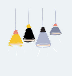 set pendant hanging lamps on white vector image
