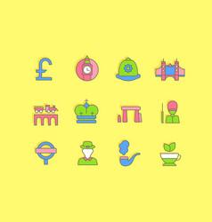 set simple line icons united kingdom vector image