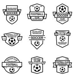 set soccer football emblems design element vector image