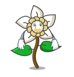 Silent jasmine flower mascot cartoon vector