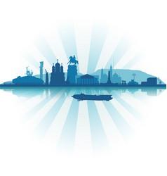 silhouette togliatti in blue colors vector image