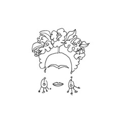 single line sketch frida woman portrait isolated vector image