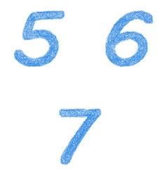 Sketch font set - numbers 5 6 7 vector image