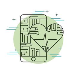 smartphone heartbeat health care app technology vector image