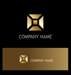 Square geometry shape gold business logo vector