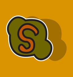Sticker unusual look skype logo vector