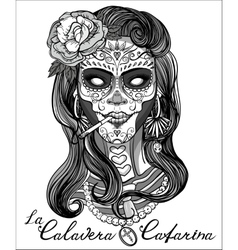 sugar skull woman vector image