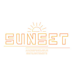 sunset font alphabet vector image