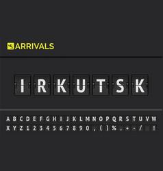 syberia irkutsk by airport flip board font vector image