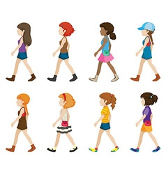 Teenagers without faces walking vector image