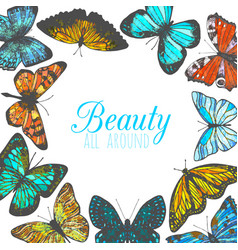 template with butterflies in hand-drawn style vector image