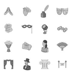 Theatre icons set gray monochrome style vector
