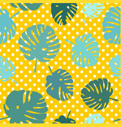 Tile tropical pattern with exotic leaves on polka vector