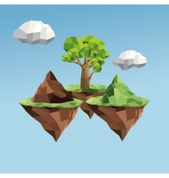 Tree and cloud icon Polygonal image vector
