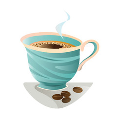 turquoise coffee cup with beans vector image