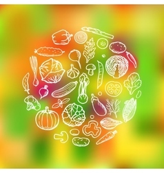Vegetable Doodle Set vector