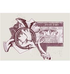 Vintage urban label with dancer vector