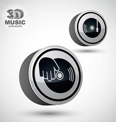 Vinyl with DJ hand icon isolated 3d design elemen vector