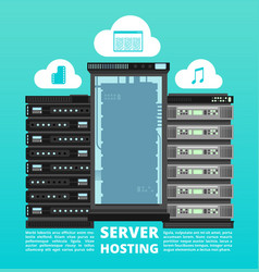 Website cloud hosting digital data storage and vector