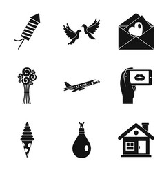Wedding ceremony icons set simple style vector