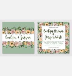 wedding invitation set beautiful greeting card vector image