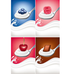yogurt cream on spoon with blueberry raspberry vector image