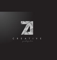 Zi z i letter logo with zebra lines texture vector