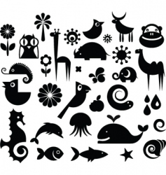 animal icons vector image vector image
