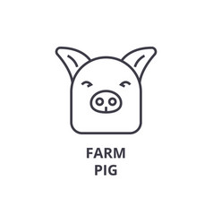 farm pig line icon outline sign linear symbol vector image