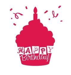 Happy birthday cupcake card vector
