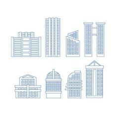 High-rise buildings Buildings line icon set City vector image