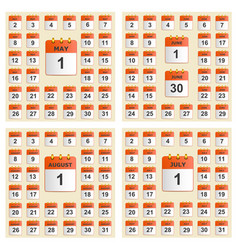 universal set of wall calendar from may to august vector image vector image