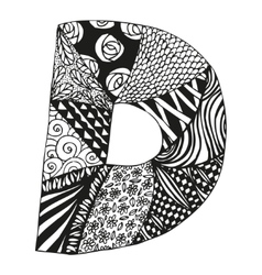 Vintage monogram D Doodle alphabet character with vector image