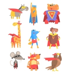 Animas dressed as superheroes set of geometric vector