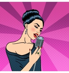 Beautiful woman singing with microphone pop art vector