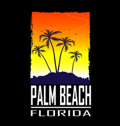 print with palms on black background vector image