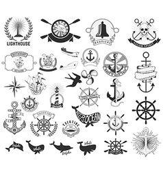 Set of the nautical labels emblems and design vector image vector image