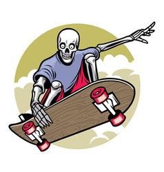 skull playing skateboard vector image vector image