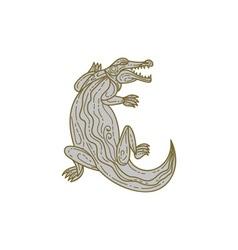 Alligator Climbing Up Mono Line vector image vector image
