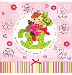 baby girl with bear on horse vector image vector image