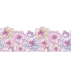 Colorful line art flowers horizontal seamless vector image