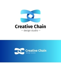 creative abstract logo Gradient blue chain vector image vector image