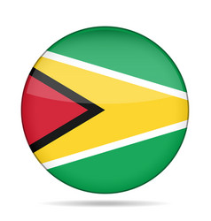 Flag of guyana shiny round button vector