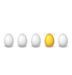 golden egg among ordinary eggs vector image