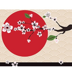 Japanese card with cherry blossom sakura and vector image
