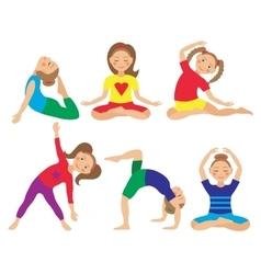 kid yoga positions vector image vector image