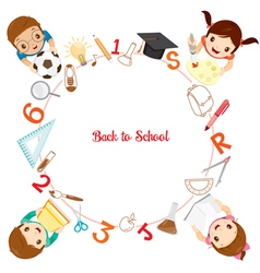Children And School Supplies Icons On Circle Frame vector image vector image