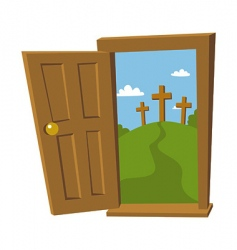 door open to the cross vector image