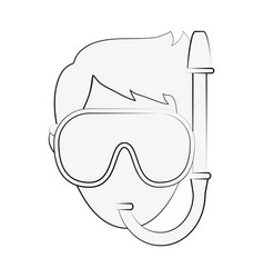 man with diving mask vector image vector image
