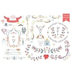 Vintage wedding Floral doodle Decoricons set vector image vector image
